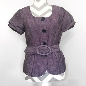 Short Sleeve Button Up Belted Business Casual Top